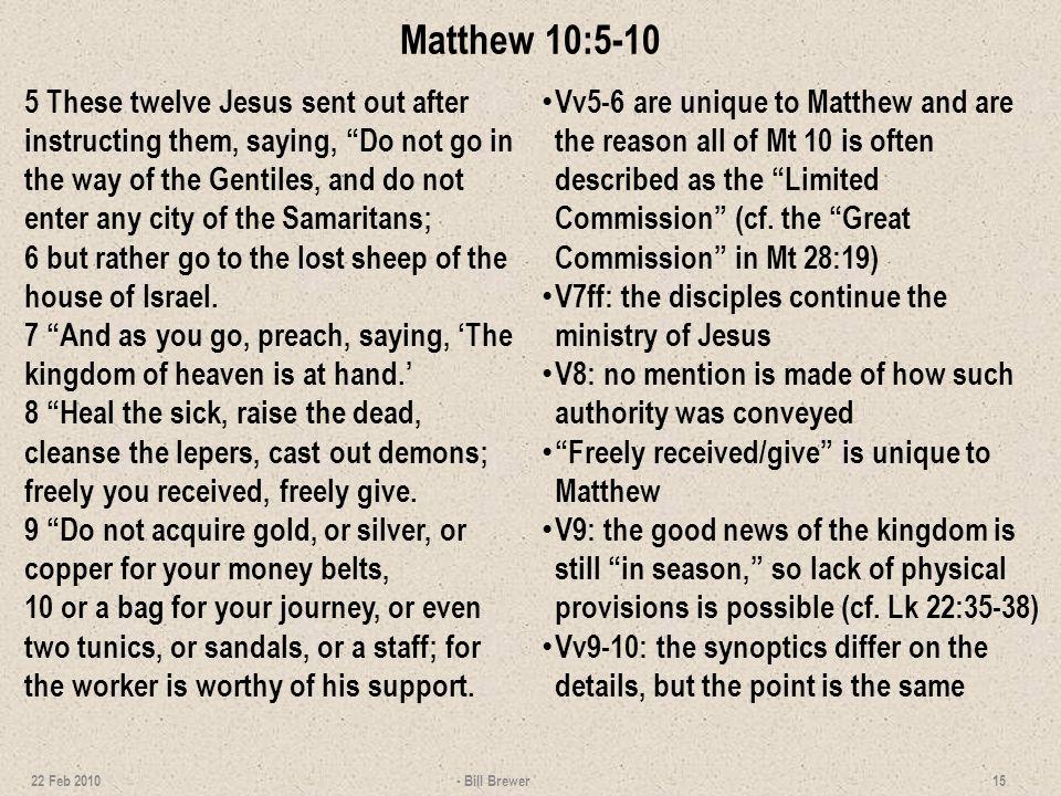 Matthew 10:5-10