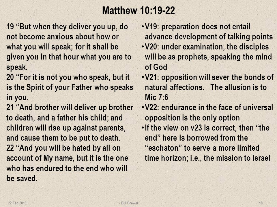 Matthew 10:19-22
