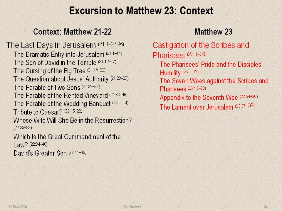 Excursion to Matthew 23: Context