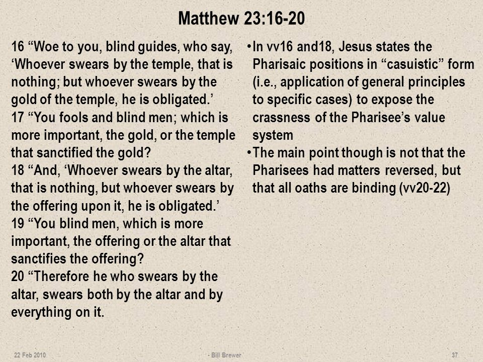 Matthew 23:16-20