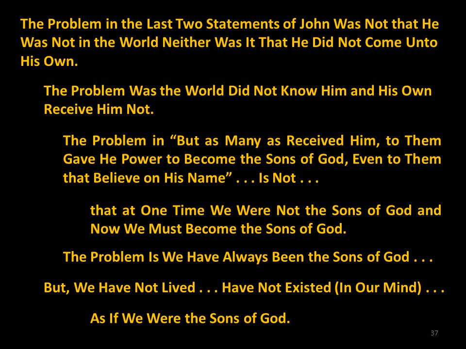The Problem in the Last Two Statements of John Was Not that He Was Not in the World Neither Was It That He Did Not Come Unto His Own.