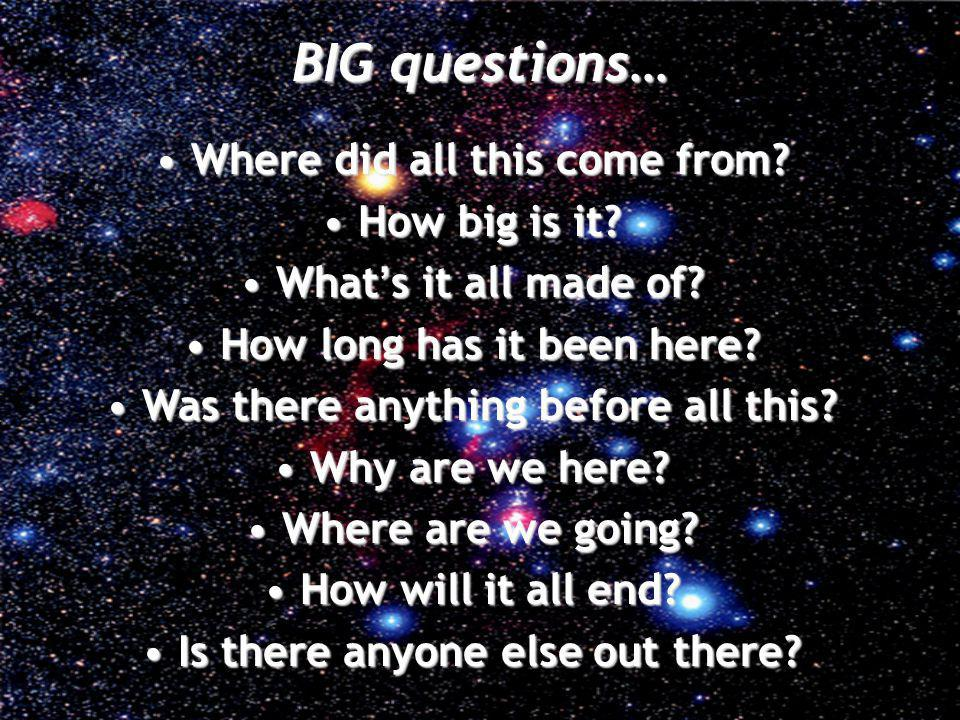 BIG questions… Where did all this come from How big is it