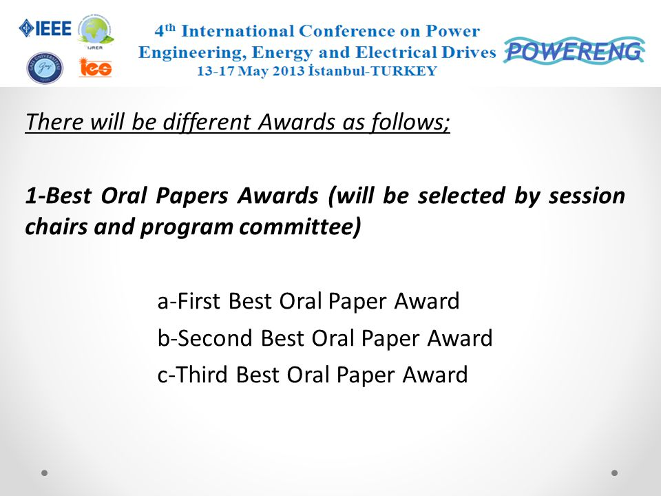 There will be different Awards as follows;