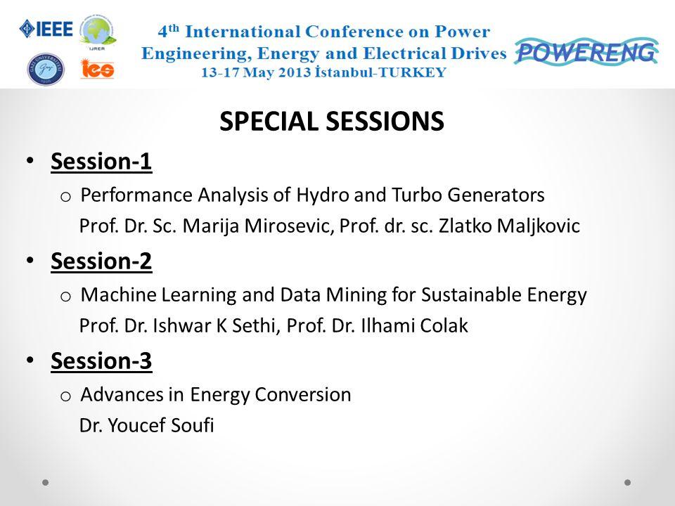 SPECIAL SESSIONS Session-1 Session-2 Session-3