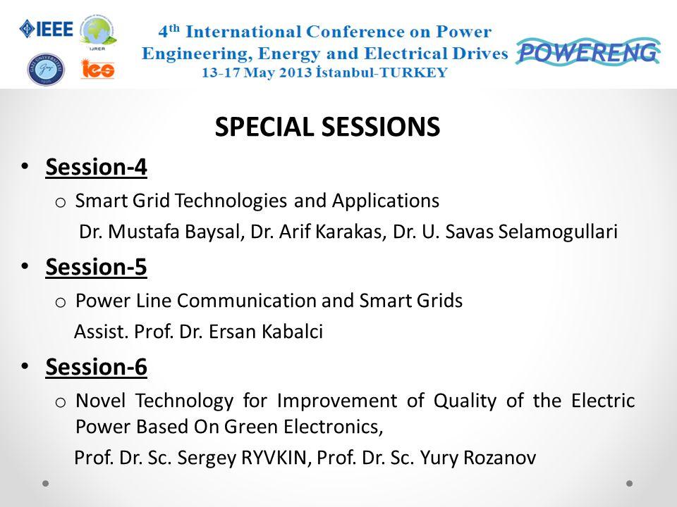 SPECIAL SESSIONS Session-4 Session-5 Session-6