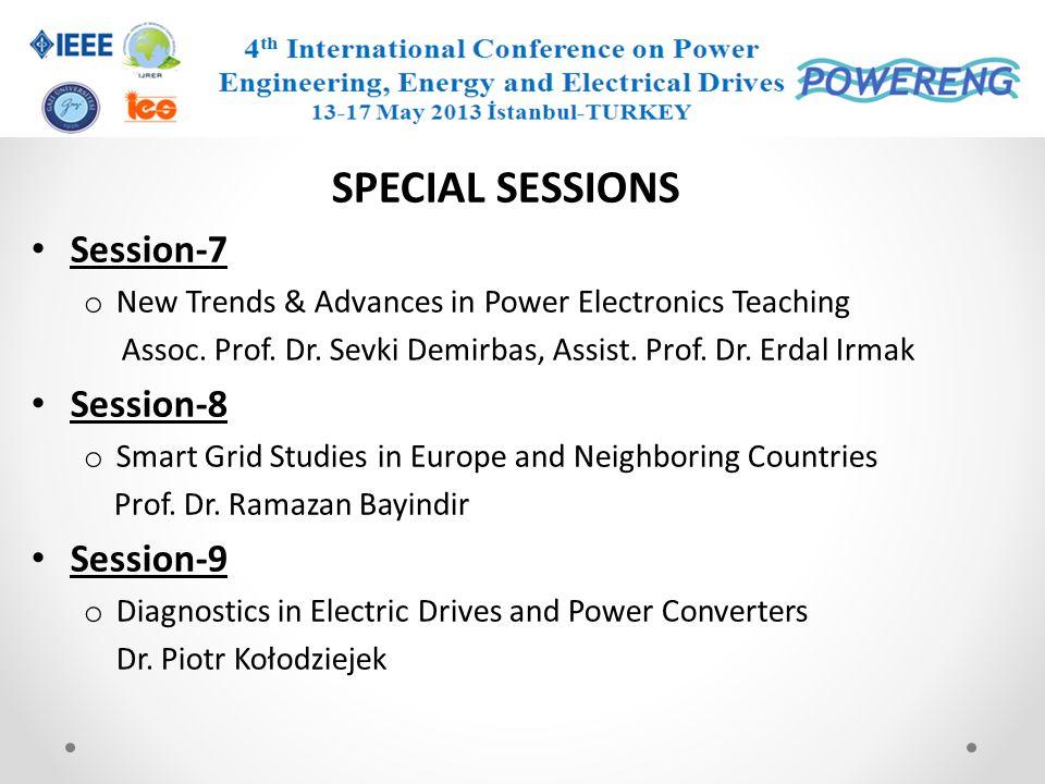 SPECIAL SESSIONS Session-7 Session-8 Session-9