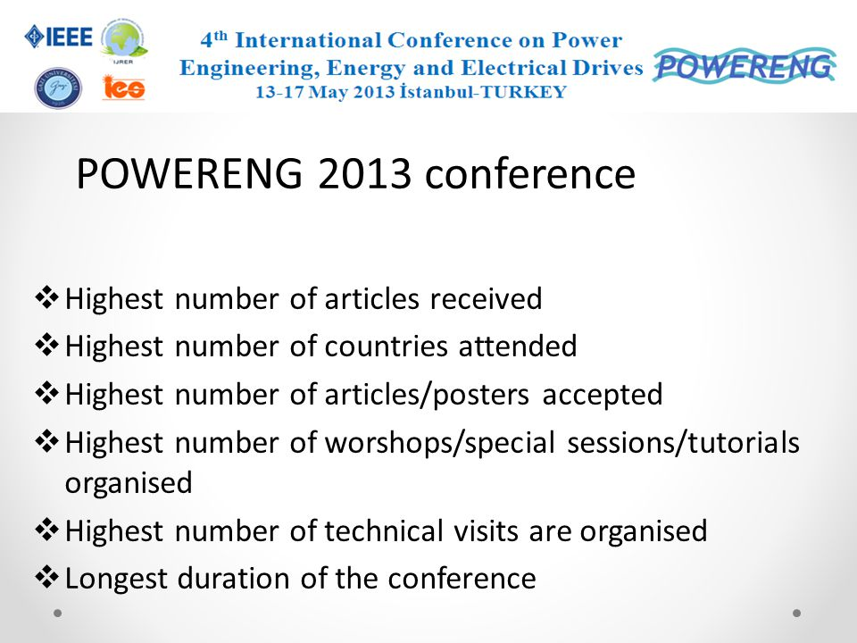 POWERENG 2013 conference Highest number of articles received