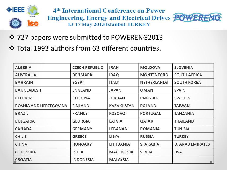 727 papers were submitted to POWERENG2013