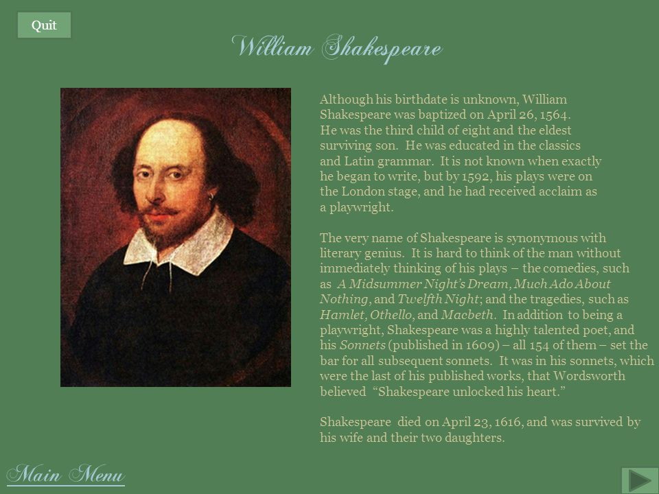 William Shakespeare Main Menu Quit