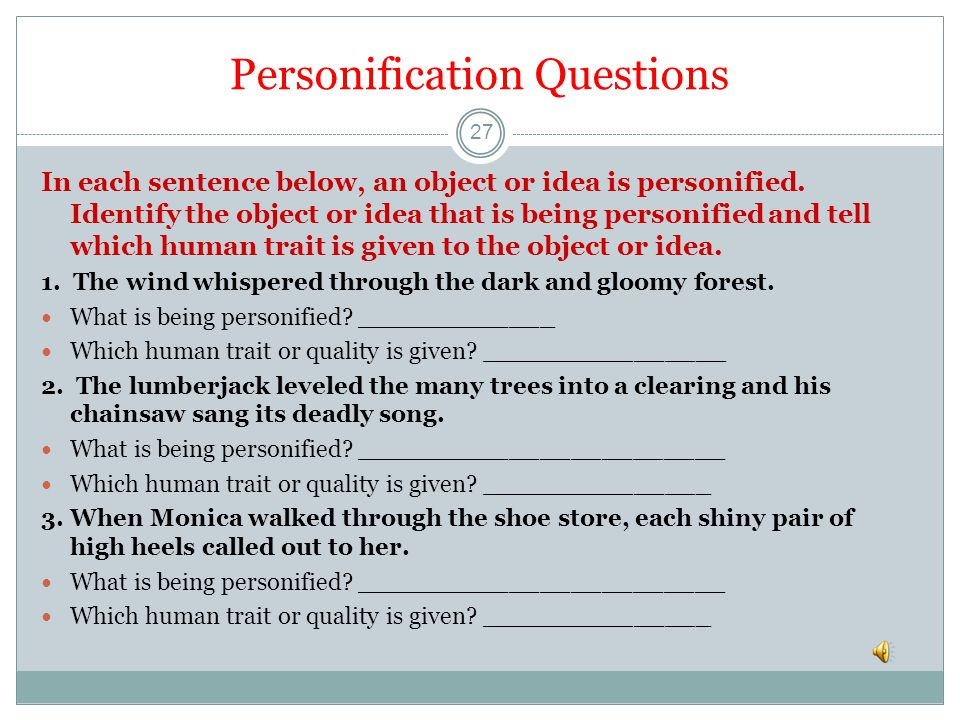 Personification Questions
