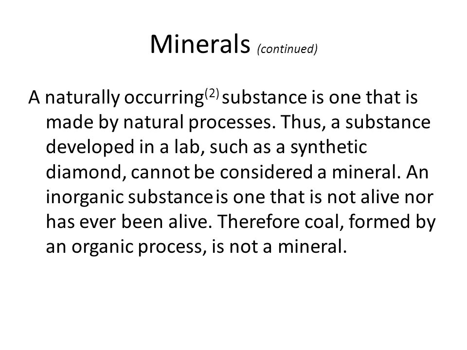 Minerals (continued)