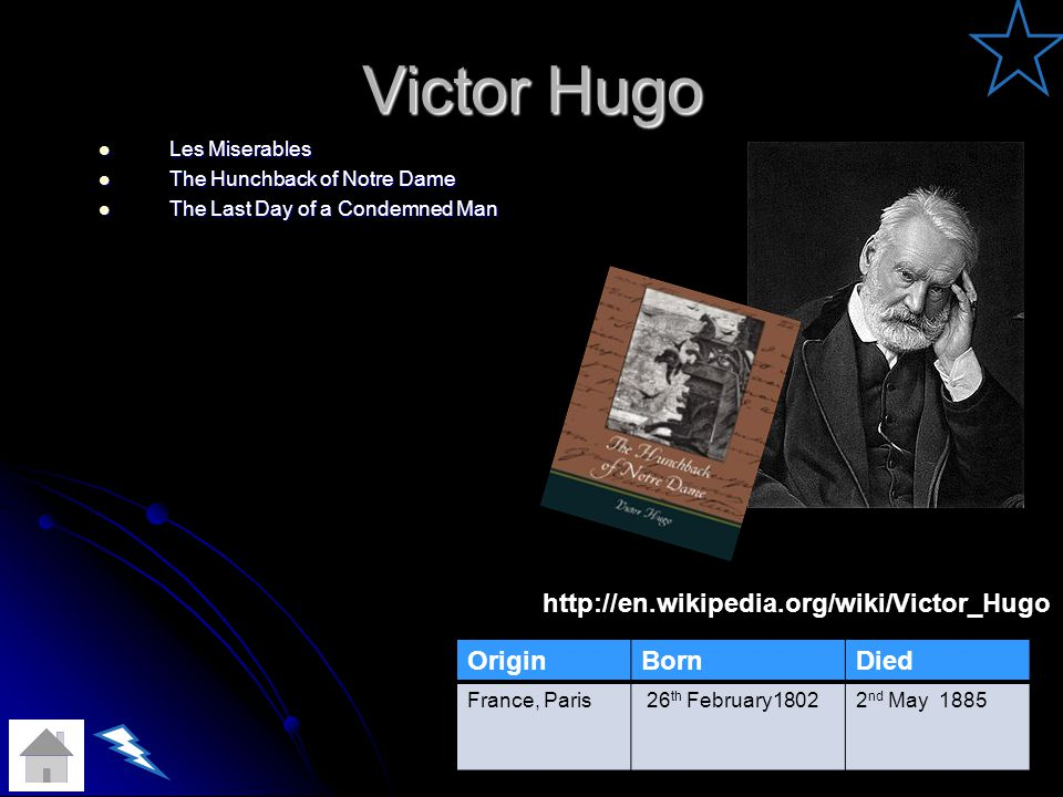 Victor Hugo http://en.wikipedia.org/wiki/Victor_Hugo Origin Born Died