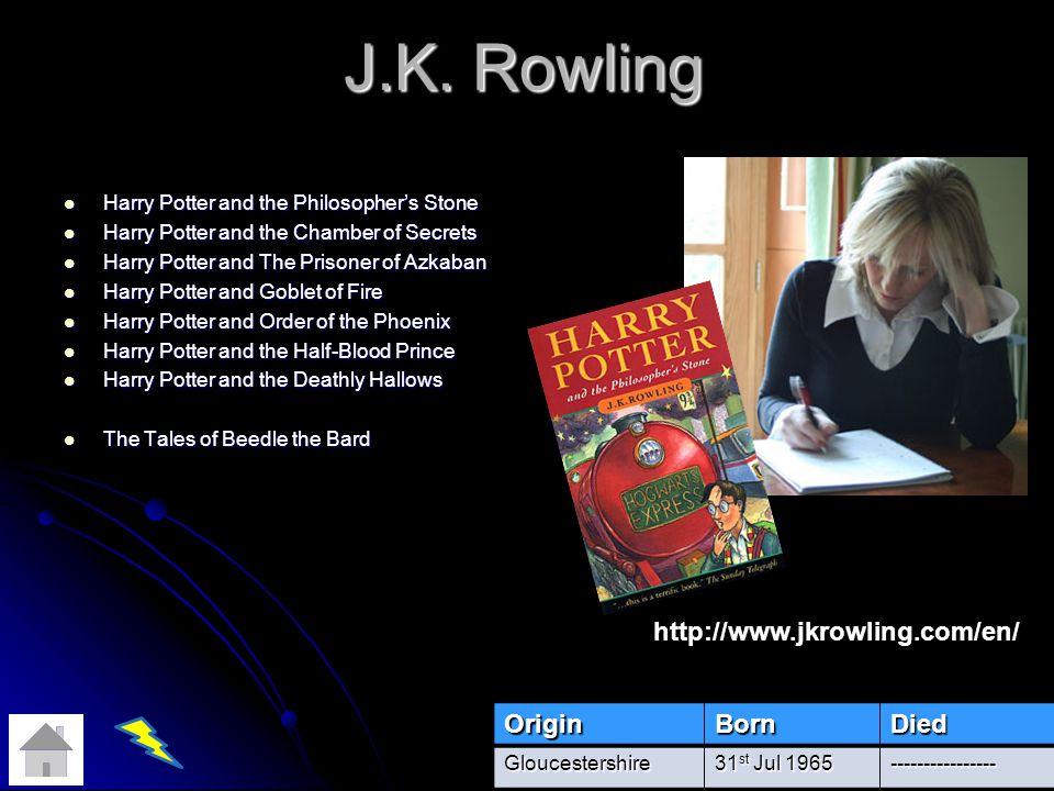 J.K. Rowling http://www.jkrowling.com/en/ Origin Born Died