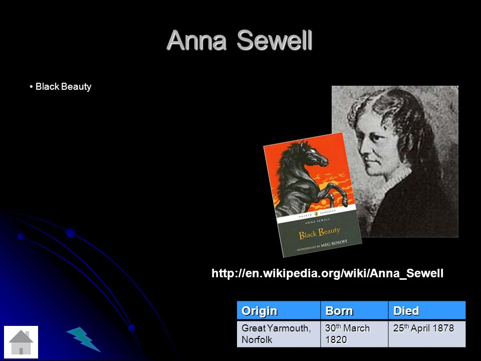 Anna Sewell http://en.wikipedia.org/wiki/Anna_Sewell Origin Born Died