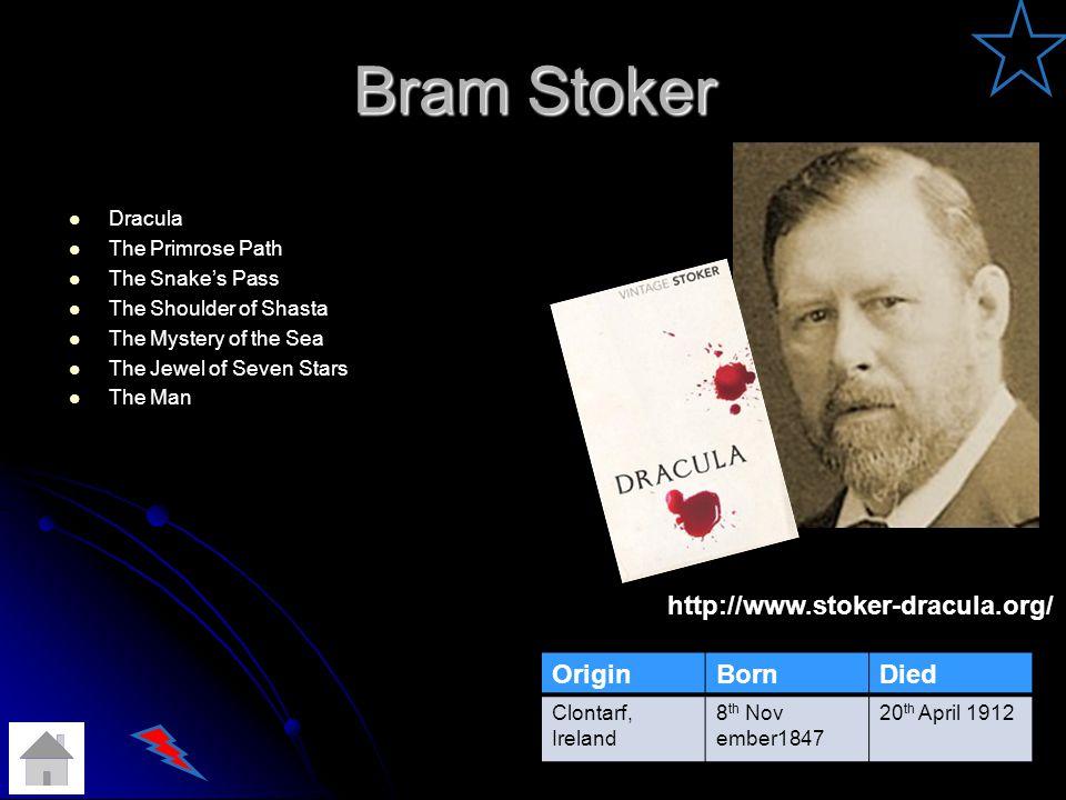 Bram Stoker http://www.stoker-dracula.org/ Origin Born Died Dracula