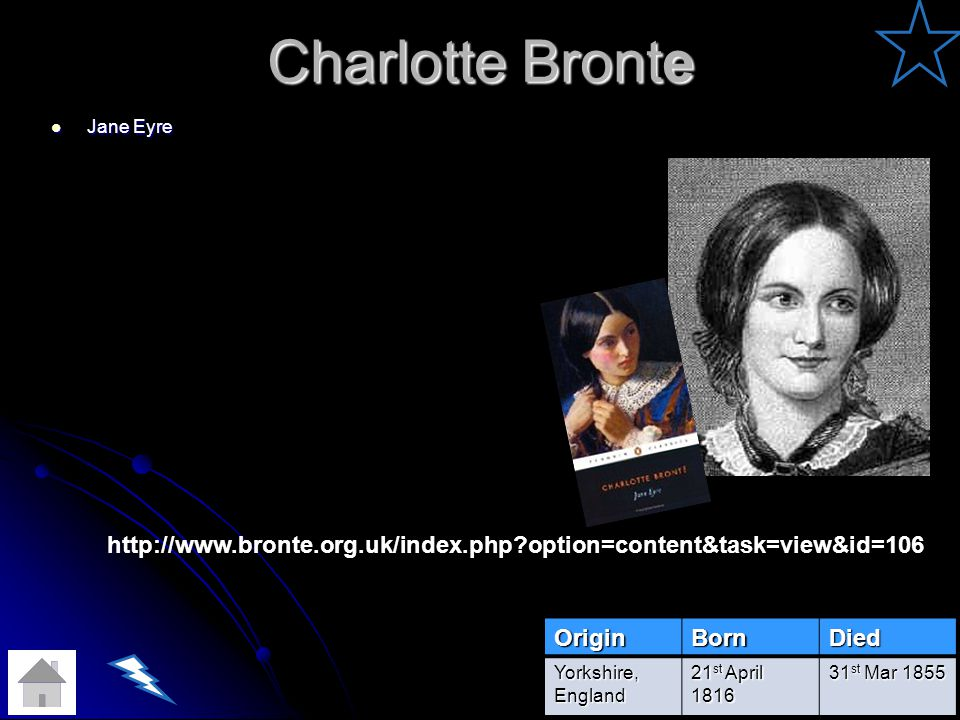 Charlotte Bronte Jane Eyre.   option=content&task=view&id=106. Origin.