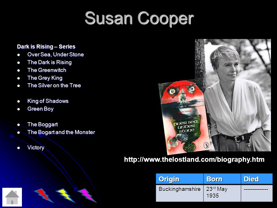 Susan Cooper http://www.thelostland.com/biography.htm Origin Born Died