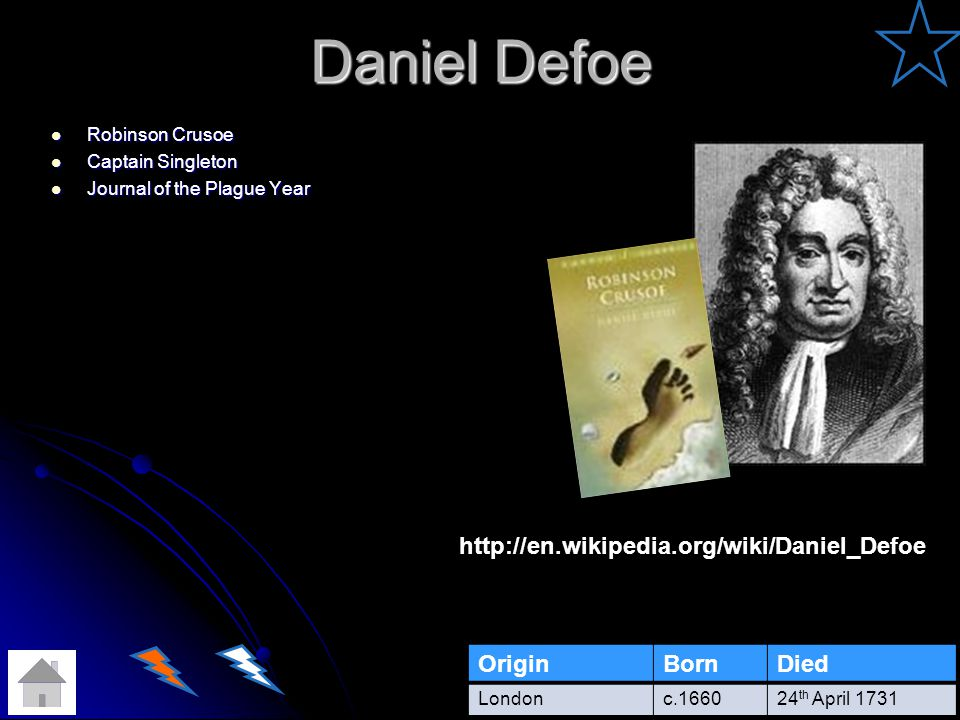 Daniel Defoe http://en.wikipedia.org/wiki/Daniel_Defoe Origin Born