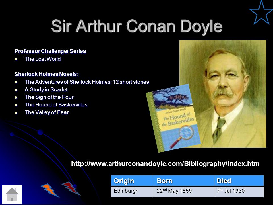 Sir Arthur Conan Doyle Professor Challenger Series. The Lost World. Sherlock Holmes Novels: The Adventures of Sherlock Holmes: 12 short stories.