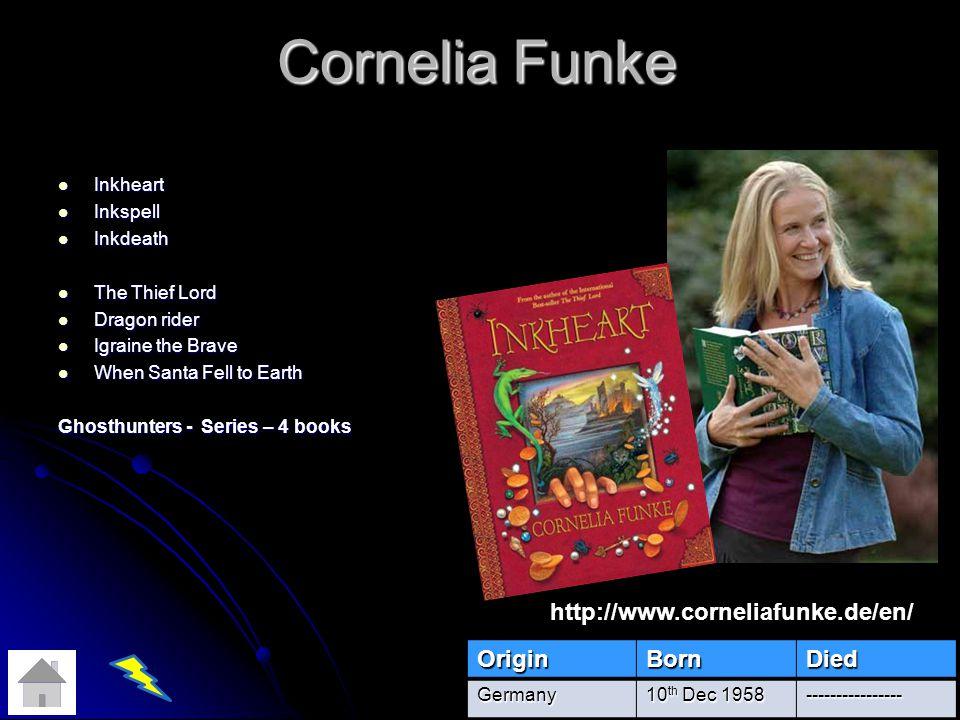 Cornelia Funke http://www.corneliafunke.de/en/ Origin Born Died
