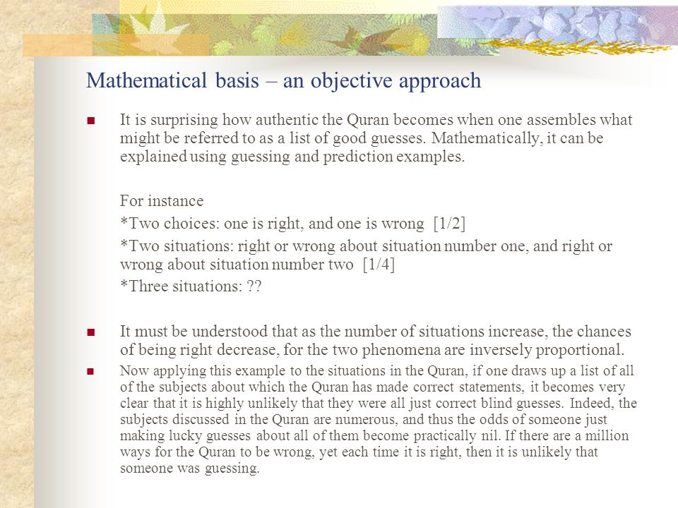 Mathematical basis – an objective approach