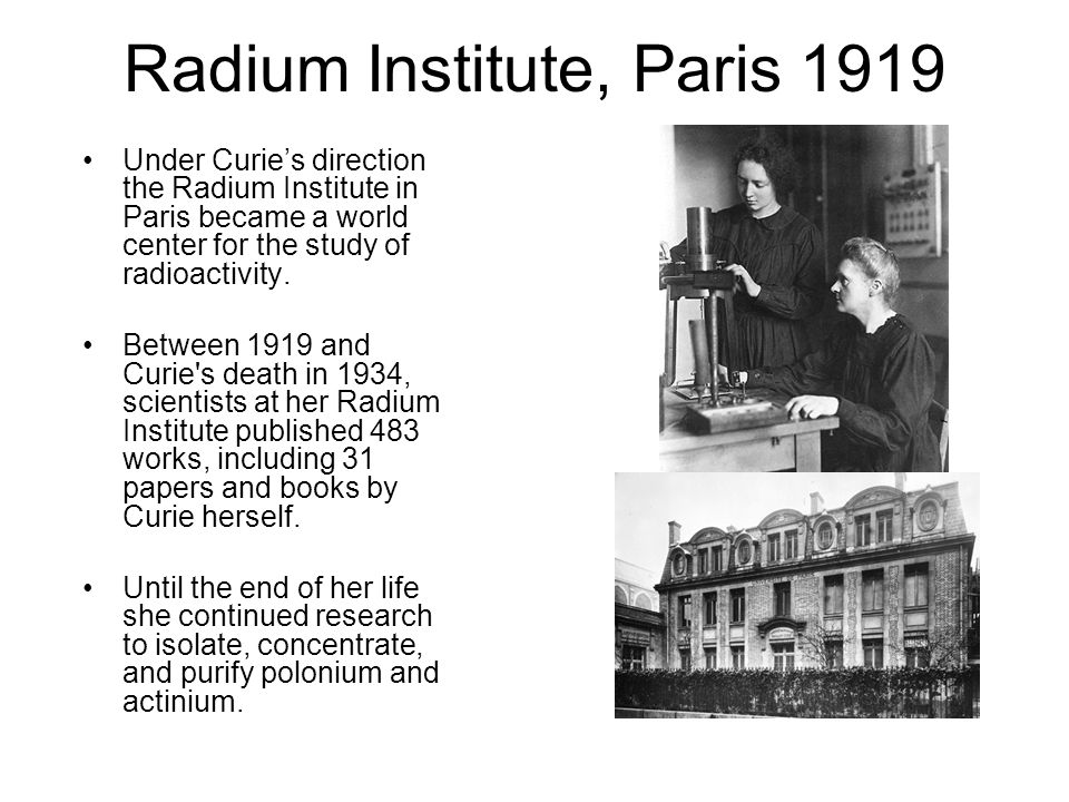 Radium Institute, Paris 1919