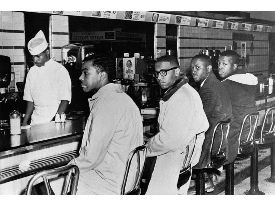 fig25_02.jpg Page 980: Sit-in at the lunch counter at Woolworth's, Greensboro, North Carolina, February 2, 1960.