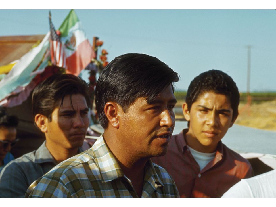 fig25_27.jpg Page 1012 (bottom): César Chavez leading a march of striking Chicano farm workers in 1967.