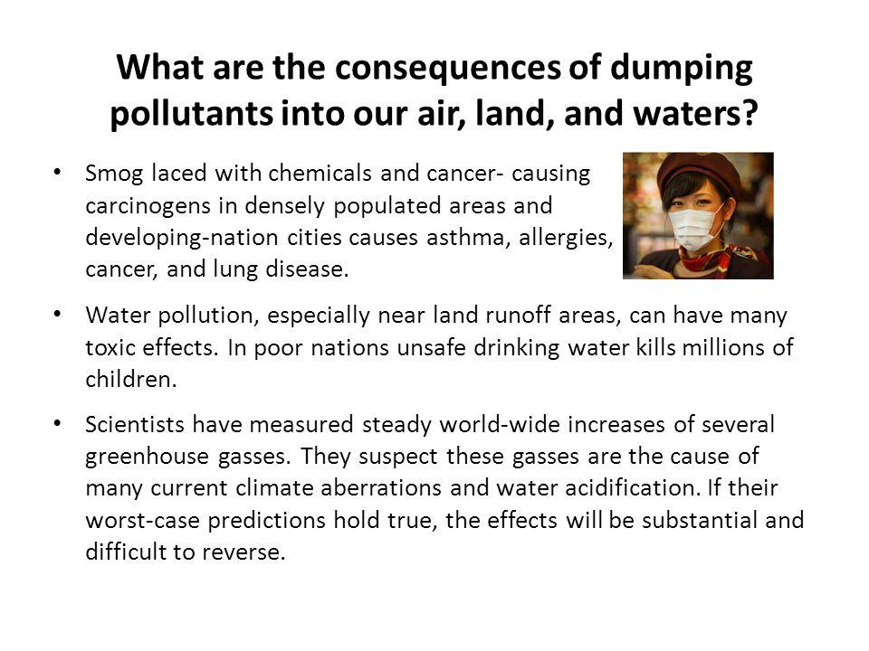 What are the consequences of dumping pollutants into our air, land, and waters