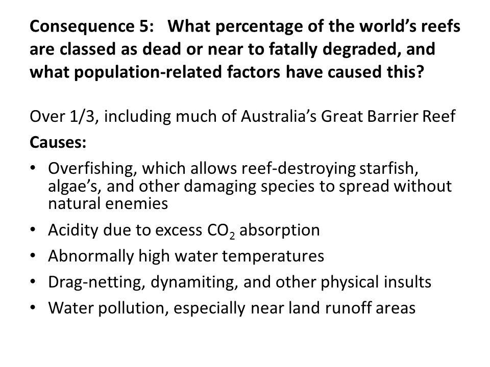 Consequence 5: What percentage of the world's reefs are classed as dead or near to fatally degraded, and what population-related factors have caused this