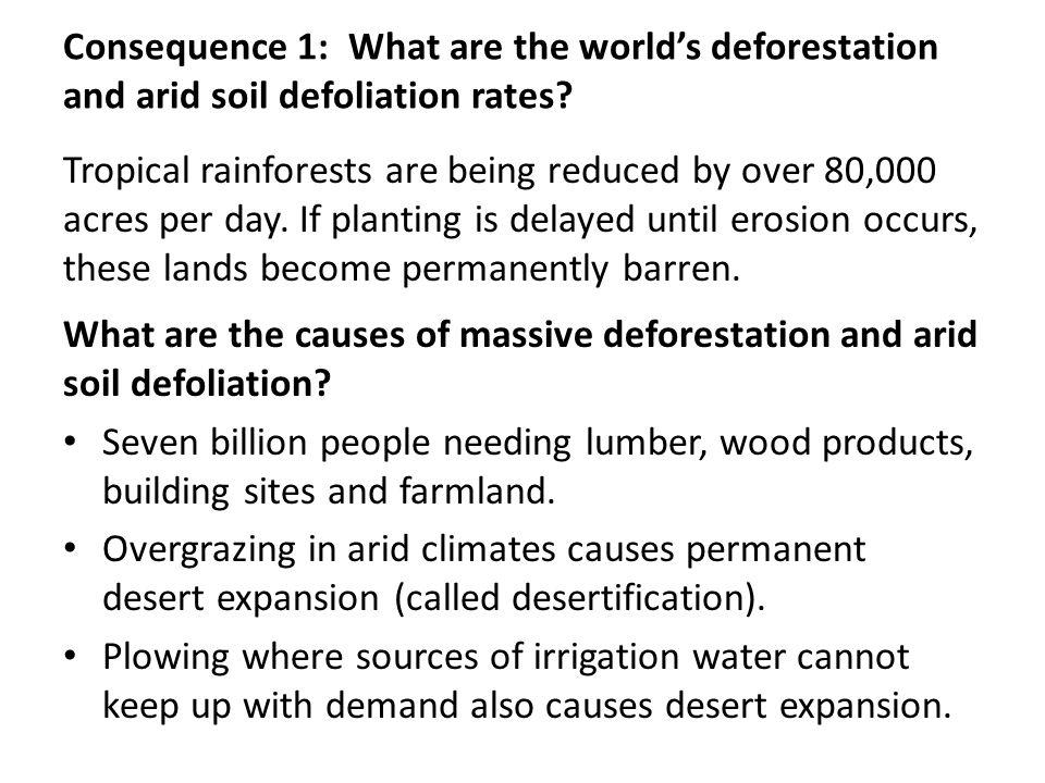 Consequence 1: What are the world's deforestation and arid soil defoliation rates