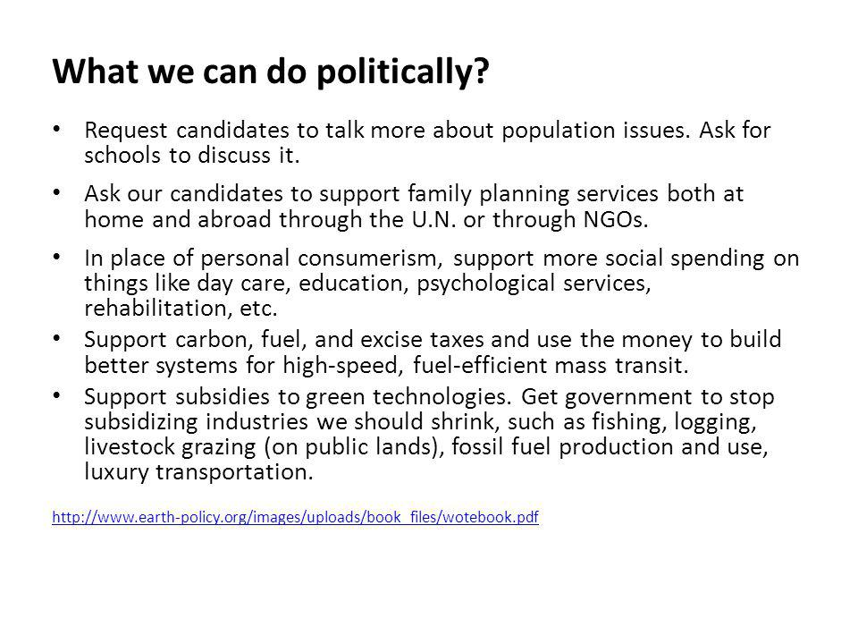 What we can do politically