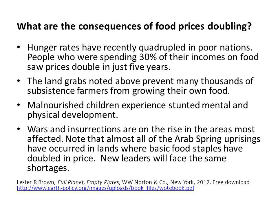 What are the consequences of food prices doubling