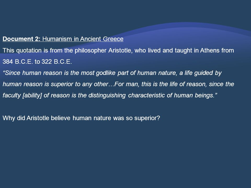Document 2: Humanism in Ancient Greece