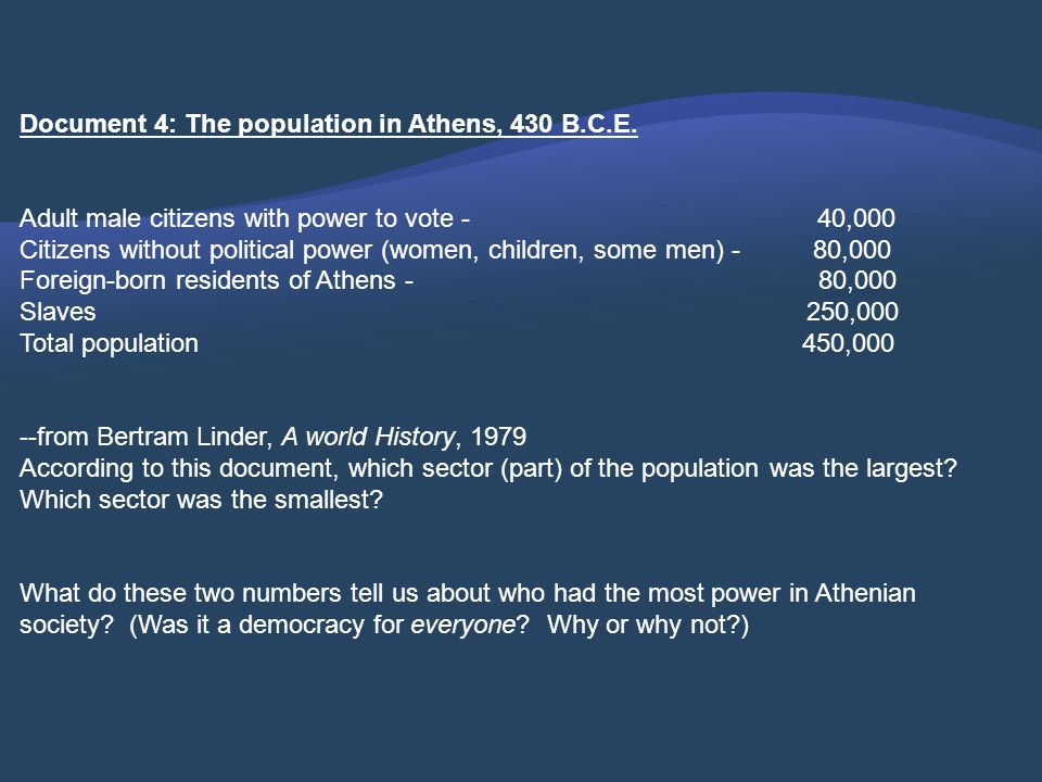 Document 4: The population in Athens, 430 B.C.E.