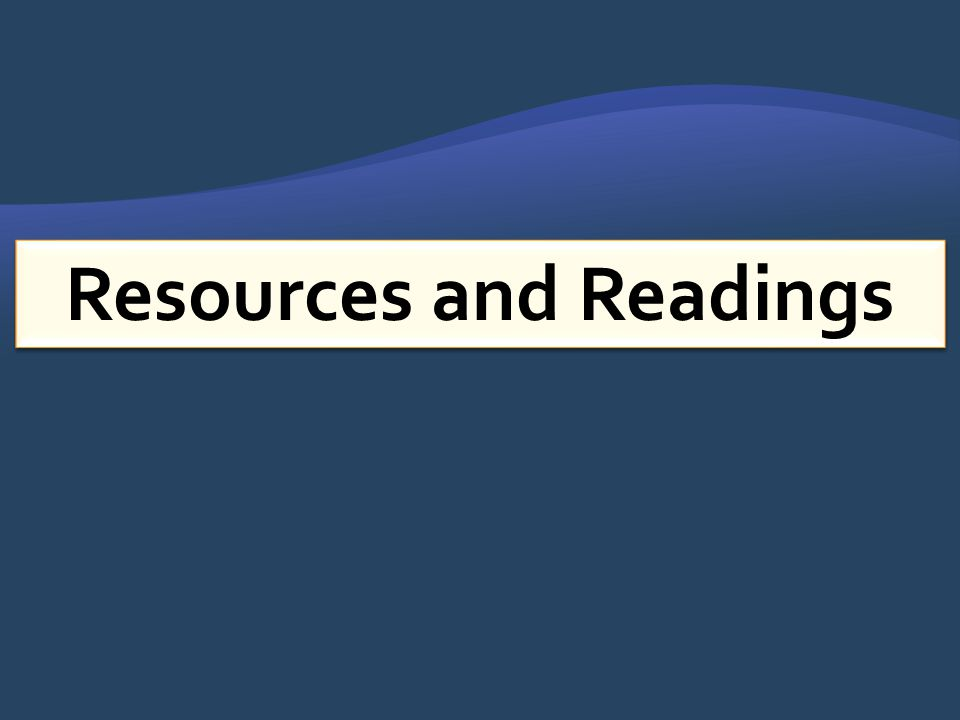 Resources and Readings