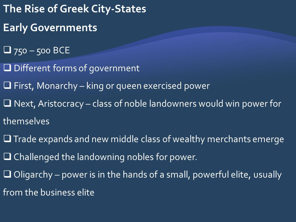 The Rise of Greek City-States Early Governments