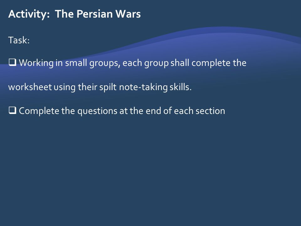 Activity: The Persian Wars