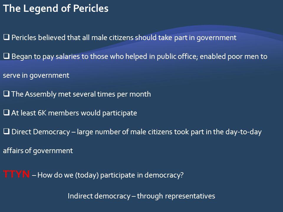 Indirect democracy – through representatives