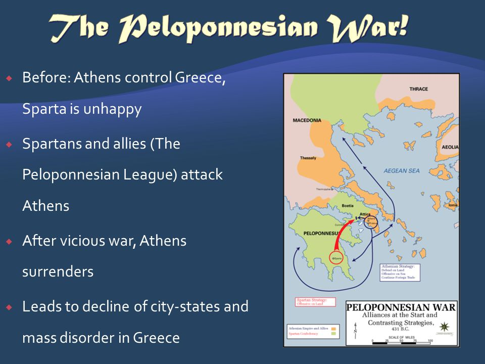 The Peloponnesian War! Before: Athens control Greece, Sparta is unhappy. Spartans and allies (The Peloponnesian League) attack Athens.