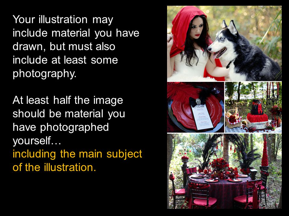 Your illustration may include material you have drawn, but must also include at least some photography.