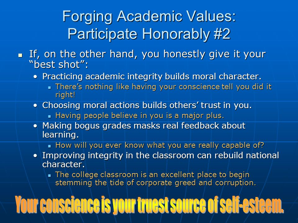 Forging Academic Values: Participate Honorably #2