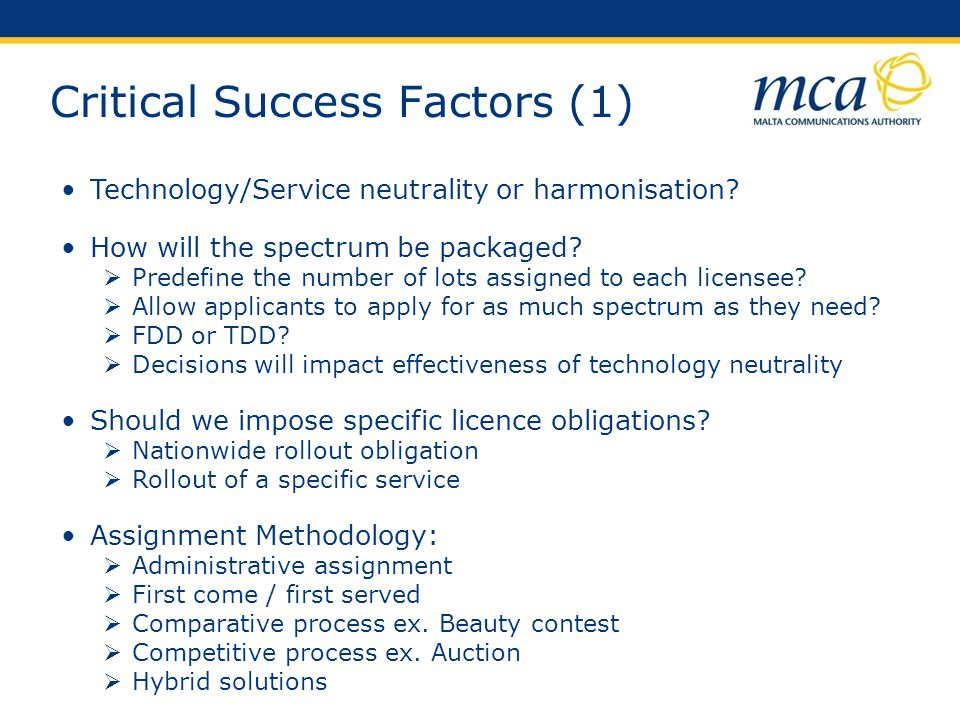 Critical Success Factors (1)