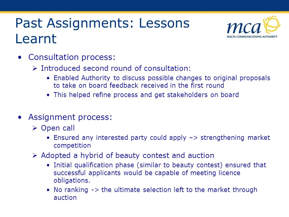 Past Assignments: Lessons Learnt