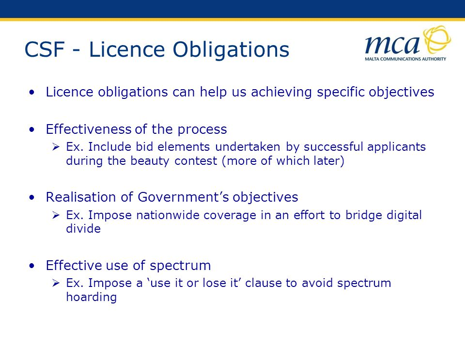 CSF - Licence Obligations