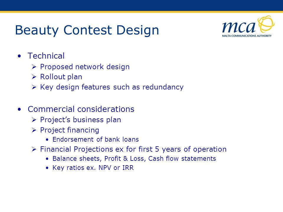 Beauty Contest Design Technical Commercial considerations