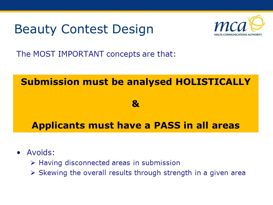 Beauty Contest Design Submission must be analysed HOLISTICALLY &