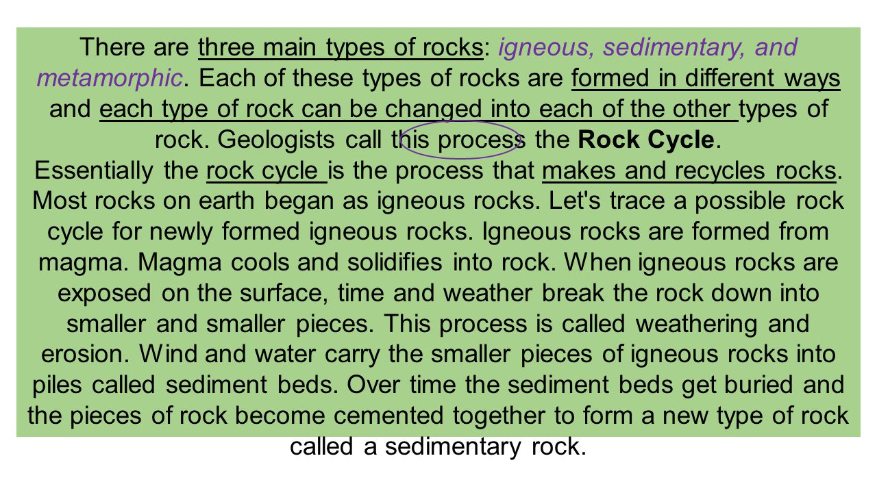 There are three main types of rocks: igneous, sedimentary, and metamorphic. Each of these types of rocks are formed in different ways and each type of rock can be changed into each of the other types of rock. Geologists call this process the Rock Cycle.