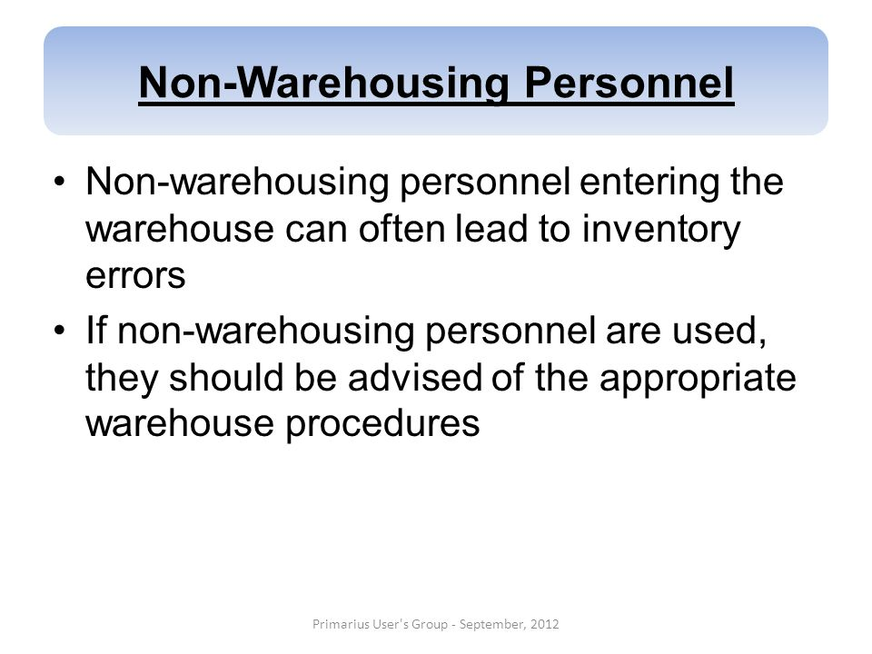 Non-Warehousing Personnel