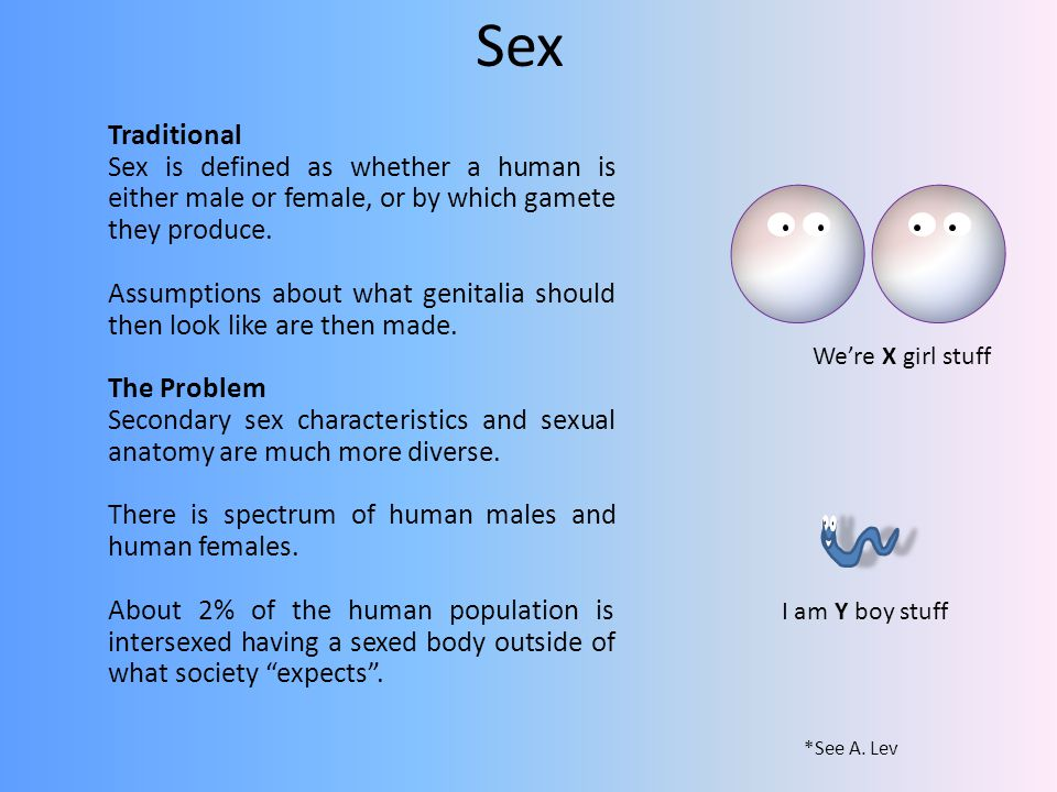 Sex Traditional. Sex is defined as whether a human is either male or female, or by which gamete they produce.